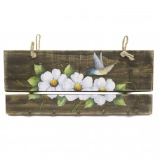 Porta Chaves Beija Flor e Flor Branca