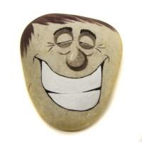 Pedra Pintada Caricatura Homem Sorriso