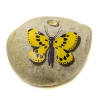 Pedra Pintada Borboleta Amarela