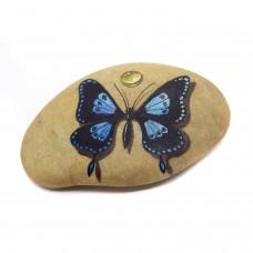 Pedra Pintada Borboleta Azul