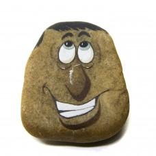 Pedra Pintada Caricatura Homem Sorriso 2